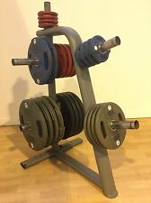 Hammer Strength Polyurethane Olympic Weight Plates - With Storage Rack