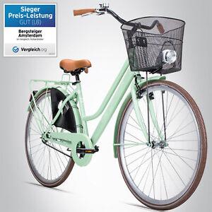 28 Zoll Damenfahrrad Bergsteiger Amsterdam Citybike Korb Licht Damenrad B-WARE