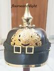 Prussian German Pickelhaube Armour Officer Helmet Vintage Spiked W Leather Liner
