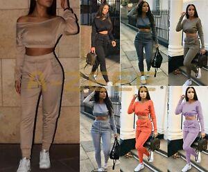 New Women's Ladies Crop Top 2PCS Bottom Tracksuits Off Shoulder Lounge-wear UK