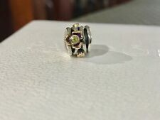 Pandora Retired Diamond Peridot Two Tone Gold 14K Charm