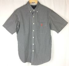 US POLO ASSN Mens S/S Casual Shirt M Button Down Black White Gingham Plaid Med