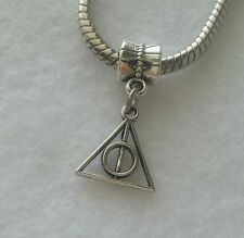 Harry Potter Deathly Hallow Logo Slide Dangle Charm Fits European Style Bracelet