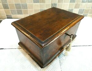 RARE 18thC ELM WOOD DESK BOX WITH INTERIOR LIDDED CANDLE COMPARTMENT lock & key