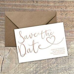 Personalised Save the Date Card CLASSIC NATURAL SIMPLE packs of 10