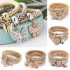 3Pcs pulsera multicapa de Cristal Strass Mariposa corona Brazalete Elástico Mujeres