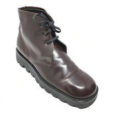 Women's Prada Combat Boots Shoes Size 38.5 EU/8.5 B Brown Leather Lace Up Q12