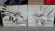 """1963 Roy Lichtenstein """"WHAAM"""" 2 Panel Prints 30"""" x 25"""""""