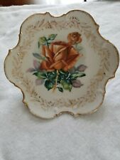 Vintage Small Decorative Porcelain Plate w/ Red Rose