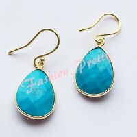 SUPER PRETTY 12 CARAT TURQUOISE TEARDROP EARRINGS IN 18 KARAT GOLD OVERLAY - FS