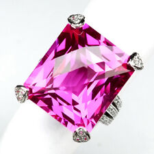TOPAZ PINK OCTAGON 35.20 CT.SAPPHIRE 925 STERLING SILVER RING SZ 5.75 FINE GIFT