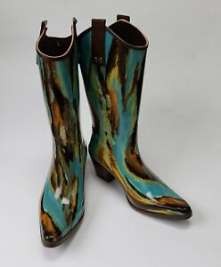 Beehive Boots Shoes Rain Rubber Western Pointy Toe Multi-Color Crain03 USA Sz 6