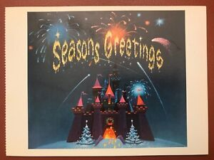 POSTCARD DISNEY CHRISTMAS CARD 1959 SEASONS GREETINGS FROM CINDERELLA CASTLE