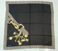Vintage Scarf FENDI The Chain Dark Brown Yellow 100%Twill silk 85cm