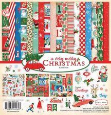 "CARTA BELLA ""A VERY MERRY CHRISTMAS"" 12X12 PAPER RETRO  SANTA  SCRAPJACK'S PLACE"