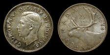 1944 Canada 25 Twenty-Five Cent Piece King George VI AU-55