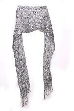 Black & White Tiger & Cheetah Print W Silver Sparkling Stripes Scarf (S218)