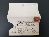 1862 Wurzburg Germany Bayern Kreuzen Stamp Bi Fold Letter Cover