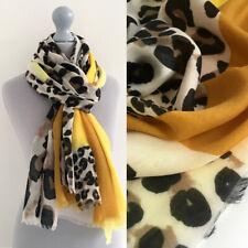 Ladies Mustard Yellow Leopard Print Scarf Large Animal Womens Lightweight Summer