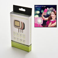 16 LED Camera Smart Selfie Fill Flash Light 3.5mm For Android IOS iPhone FBDU PL