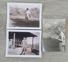 3 Vintage 1950's Photos Handsome Young Men No Shirt Gay Interest