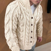 Men Winter Solid Jacket Sweater Warm Cardigan Coat Fashion Knitted Coat SZ M-4XL