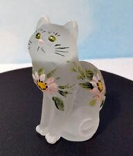 MOSSER GLASS KITTEN CAT W / PINK DAISIES  & GREEN EYES ~ SPECIAL ~  NEW