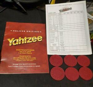 1997 Yahtzee Deluxe Edition Score Pad 6 Shts. & 6 chips & Instr. Replacement Pcs