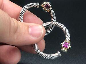 David Yurman Sterling 14K Renaissance Green Onyx & Pink Tourmaline Hoop Earrings