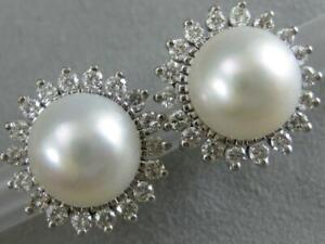 ESTATE DIAMOND 10MM SOUTH SEA PEARL 14K GOLD HALO CLUSTER STUD EARRINGS 6.332615