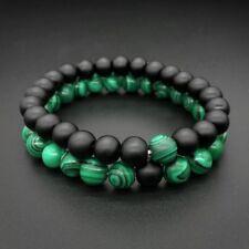 Set de 2 bracelets en pierre fine naturelle onyx noir mat et malachite, neuf