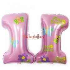 """Number 1 Balloon Age Birthday 1st Pink 28"""" Foil Party Celebration"""