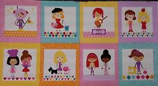 Girl Friends Fabric Panel.  100% cotton, Bright, Girls at work and play