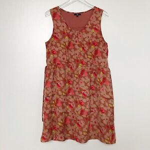 Gap Womens Dress Brown Floral Sleeveless Side Tie Tiered Ruffle Lined Summer