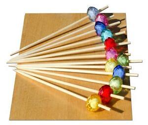 Multi coloured jewel bead skewer wood 9cm x 500 - GOTO
