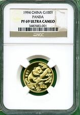 CHINA 1994 PANDA  GOLD  NGC PF 69     1/4 OZ    100 YUAN   WILD LIFE