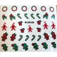 Christmas Nail Art Stickers Decals Gingerbread Man Holly Candy Cane Wreath 943d