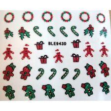 Navidad Nail Art Pegatinas Calcomanías Pan De Jengibre Hombre Holly Candy Cane corona 943d