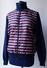 ADIDAS Blue / Burgundy Striped Vintage Tracksuit Top Retro Jacket - Large