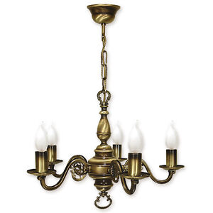 CHANDELIER 5 ARMS TRADITIONAL CEILING LIGHT - ANTIQUE BRASS FINISH - CANDLE