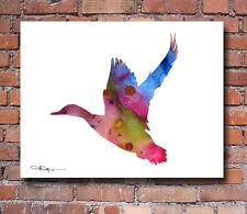 Mallard Duck Abstract Watercolor Painting Art Print by Artist DJ Rogers