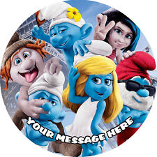 SMURFS 2 PERSONALISED EDIBLE ICING CAKE DECORATION TOPPER ROUND IMAGE