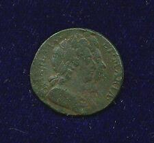 G.B./U.K./ENGLAND  WILLIAM & MARY  1694  FARTHING COPPER COIN, F/VF