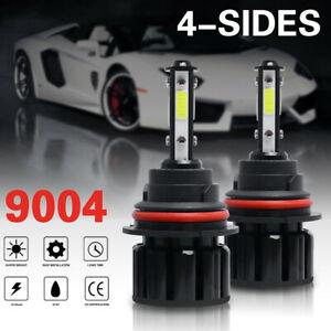 2PCS 9004 HB1 LED Headlight 4-Sided Bulbs High&Low Beam 120W 6000K 300% Brighter