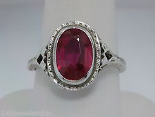 Vintage 14K White Gold 2.50 CT Synthetic Ruby Filigree Ring Size 6
