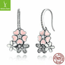 925 Sterling Silver Poetic Blooms Drop Dnagle Earrings Fit Women Christmas Gifts