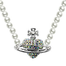 Crown White Pearl Silver Bridal Orb Galaxy Cross Heart Pendant Necklace N576W