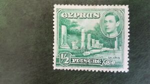 Postage Stamp Cyprus KGVI 1/2 Piasgre Salamis Green SG No.152 Fine Used