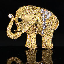 Plated Crystal Elephant Brooches Pin Accessory 1Pcs Fashion Retro Men Women Gold
