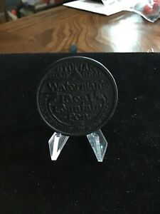 Vintage Waterman 'Knock Wood' Wood Advertising Coin